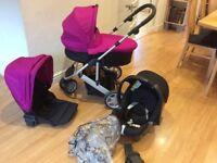 Mamas & Papas Zoom Pink Black Complete Travel System Pram Buggy Car Seat
