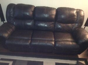 Black leather reclining couch St. John's Newfoundland image 2
