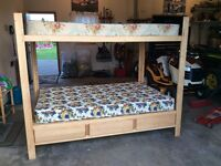 Homemade solid wood double bunk bed