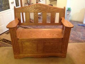 Solid Oak Deacon Bench