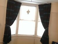 CURTAINS - 2 Pairs - Brown & Teal colour