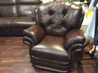 Lovely leather sofas X 2 + this lovely remote control arm chair