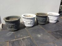 4 concrete plant / flower pots 2 white 2 grey £15 each