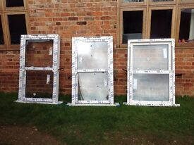 3 x white upvc windows vertical sliders brand new