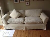 3 seater cream sofa with removable cover