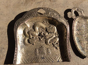Antique Japan dragon metal art tray two pcs signed numbered $40 Windsor Region Ontario image 3