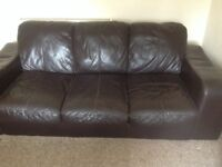 Two brown leather sofa and tool