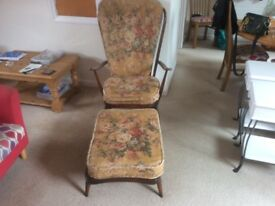Vintage ERCOL Fire side Chair with footstool