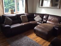 Suede/fabric lazyboy corner sofa & recliner chair