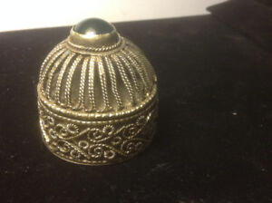 Vintage Chinese Silver Trinket Box with Jade