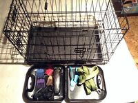 Crate, trimmer, bowls