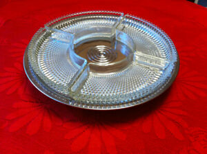 Silver Serving Tray on Stem with 4 Removable Glass Dishes