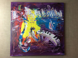 """Original Painting on Canvas """"NY City Jazz"""" by Mark Kazav. Comox / Courtenay / Cumberland Comox Valley Area image 1"""