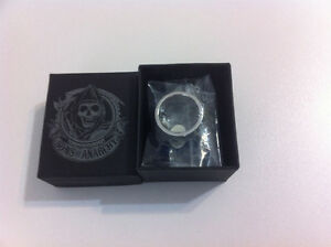 Son's Of Anarchy Stainless Steel Black and White Ring NEW