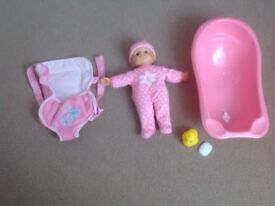 Doll, sling and Bath Set