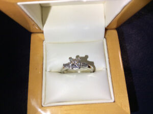 Big 1 carat diamond engagement ring set for sale