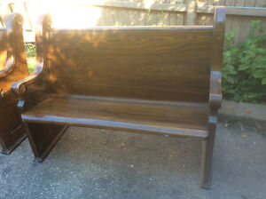 """Antique historic solid oak church pew 54"""" plus other antiques Kitchener / Waterloo Kitchener Area image 1"""