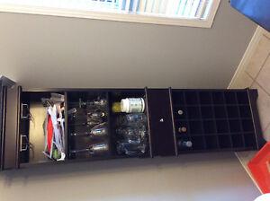 3 piece set of wine rack coat hutch and shelving unit