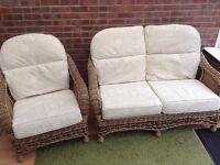 Conservatory/Garden Room Wicker 2 seater and chair cream