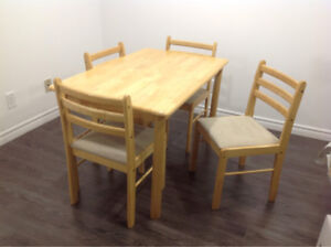 Solid Pine Wood with 4 Cushioned Chairs Dining Table