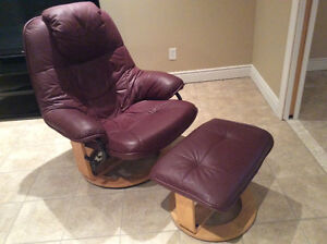 Scandesign leather chair and ottoman