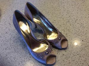 Pink satin peep toe shoes size 8.5