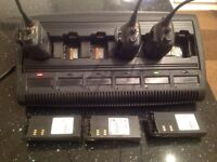 Motorola walkie talkies and charging station