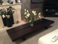 Solid dark wood coffee table, unit and side table