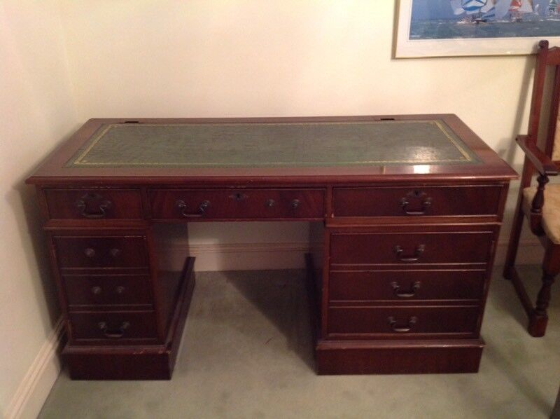 Leather top computer desk