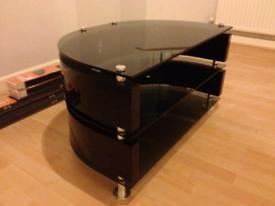 Black glass TV stand - universal high gloss curve unit