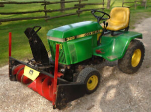 John Deere 322 Garden Tractor. Mower and Snowblower.