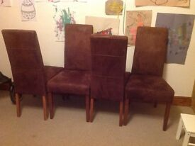 4 brown suede dining chairs