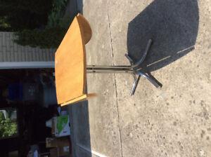 Small drop leaf table, oak and chrome