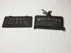 2 Antique cast iron McCORMICK & IDEAL GIANT tool box lids !