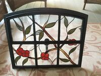 Stained Glass set in antique coal iron window frame