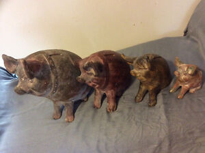 Vintage Clay Piggy Banks Family (Set Of 4) London Ontario image 2