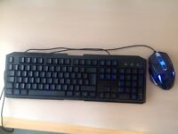 New keyboard and mouse, wired, backlit with blue led,ideal for gaming