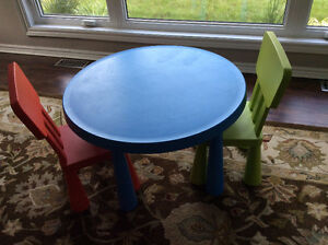Ikea Mammut Kids table with 2 chairs