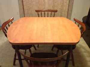 Wooden Dining set with 4 chairs and leaf