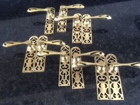 ANTIQUE STYLE SOLID BRASS FRET PATTERN DOOR HANDLES. COMPLETE WITH BRASS SCREWS AND FITTINGS.