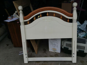 White twin head board and metal frame for sale London Ontario image 1
