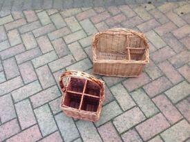 2 x vintage wine carrier wicker baskets