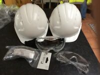 Hard hats and safety glasses
