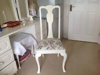 Occasional dining chair shabby chic White upcycle