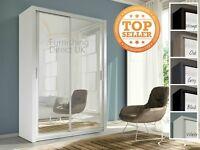Lux 150 2 Door Sliding Wardrobe in black cupboard cabinet full Mirror white oak grey light wenge