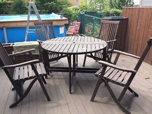 Ensemble de patio table et chaises patio set bois