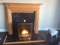 REDUCED PRICE Pine fire surround hearth and electric fire