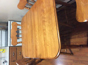 Table and chairs with extension piece and chairs