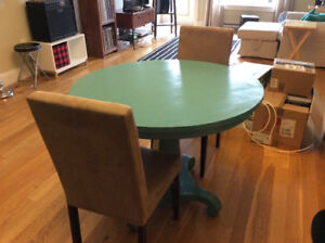 Dining table (Wicker Emporium), and two Chairs