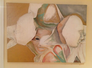 Toiles (2) Masques en Relief 18x24 po tres original $250 chaque